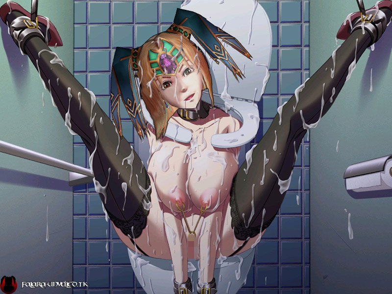 Falara got messed up in a bondage bukkake rape on toilet